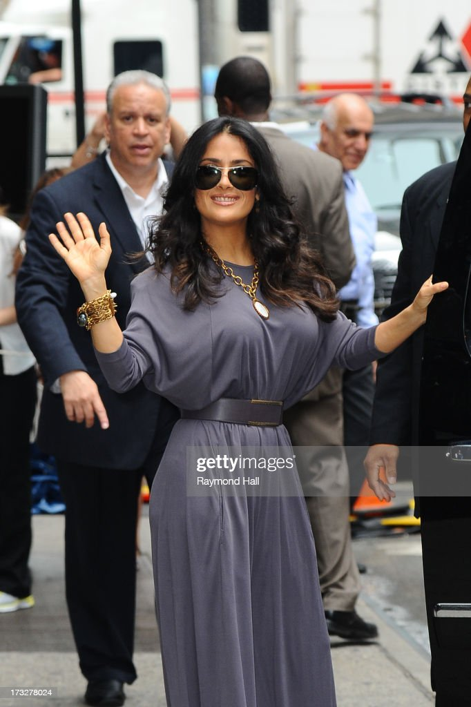 Actrees <a gi-track='captionPersonalityLinkClicked' href=/galleries/search?phrase=Salma+Hayek&family=editorial&specificpeople=201844 ng-click='$event.stopPropagation()'>Salma Hayek</a> is seen outside 'Good Morning America' taping at the ABC Times Square Studios on July 11, 2013 in New York City.