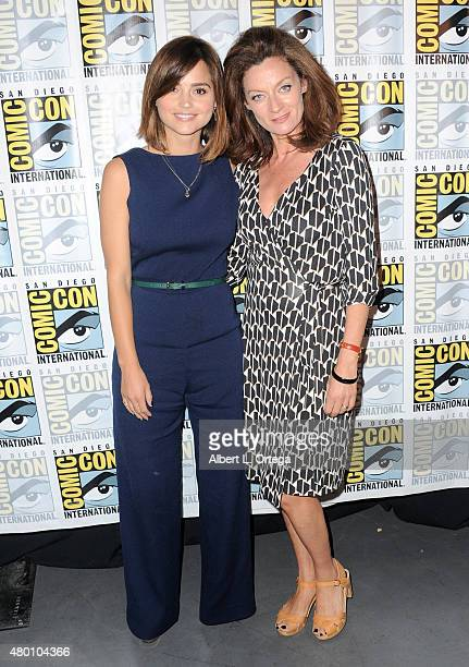 Actrerss Jenna Coleman and actress Michelle Gomez attend BBC America's official panel for 'Doctor Who' during ComicCon International 2015 at San...