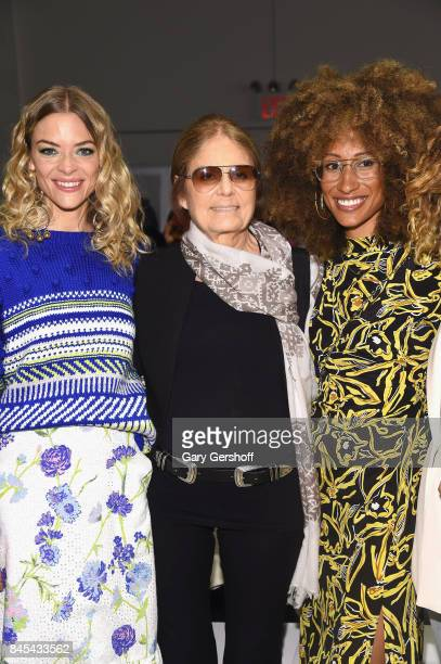Actres Jaime King activist Gloria Steinam and editorinchief of Teen Vogue Elaine Welteroth attend the Prabal Gurung fashion show during New York...