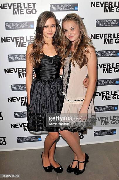 Actreses Ella Purnell and Izzy MeikleSmall attend the 'Never Let Me Go' afterparty during the 54th BFI London Film Festival at Saatchi Gallery on...