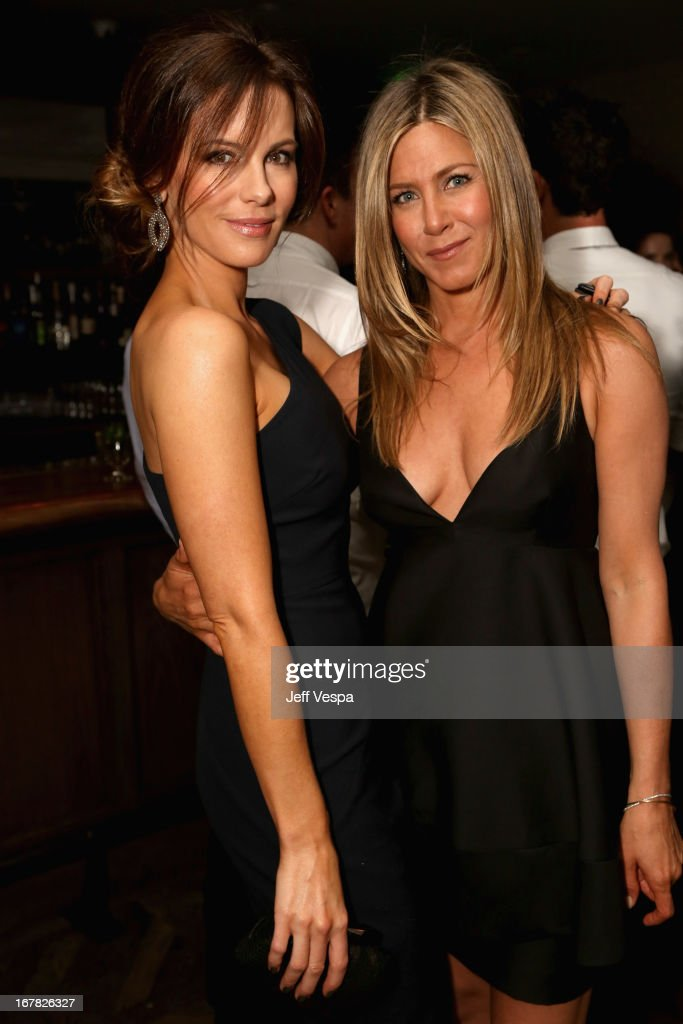 Actreses <a gi-track='captionPersonalityLinkClicked' href=/galleries/search?phrase=Kate+Beckinsale&family=editorial&specificpeople=202911 ng-click='$event.stopPropagation()'>Kate Beckinsale</a> and <a gi-track='captionPersonalityLinkClicked' href=/galleries/search?phrase=Jennifer+Aniston&family=editorial&specificpeople=202048 ng-click='$event.stopPropagation()'>Jennifer Aniston</a> attend SELF Magazine and <a gi-track='captionPersonalityLinkClicked' href=/galleries/search?phrase=Jennifer+Aniston&family=editorial&specificpeople=202048 ng-click='$event.stopPropagation()'>Jennifer Aniston</a>'s celebration of Mandy Ingber's new book 'Yogalosophy: 28 Days to the Ultimate Mind-Body Makeover' (Seal Press) on April 30, 2013 in Los Angeles, California.