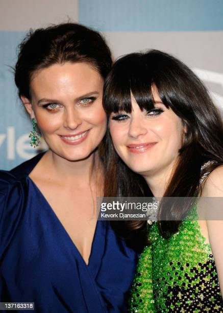 Actreses sisters Emily Deschanel and Zooey Deschanel arrive at 13th Annual Warner Bros And InStyle Golden Globe Awards After Party at The Beverly...