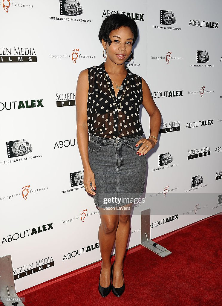 Actress Aasha Davis attends the premiere of 'About Alex' at ArcLight Hollywood on August 6, 2014 in Hollywood, California.