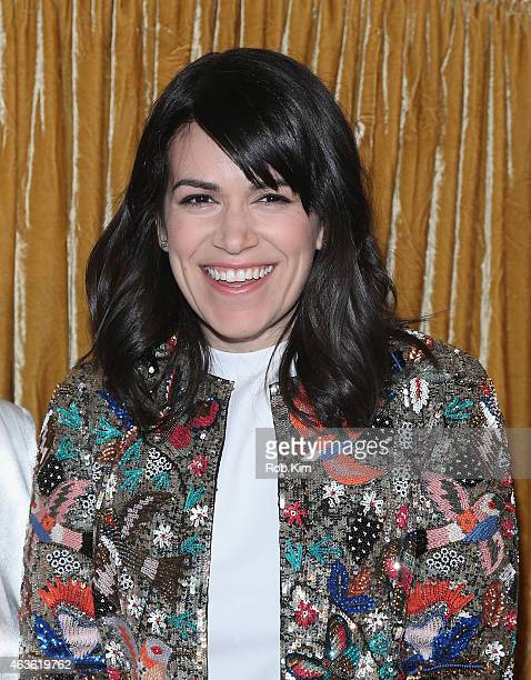 Actress Abbi Jacobson poses backstage at the alice olivia by Stacey Bendet fashion show during MercedesBenz Fashion Week Fall 2015 on February 16...