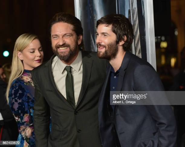 Actress Abbie Cornish actors Gerard Butler Jim Sturgess arrives for the Premiere Of Warner Bros Pictures' 'Geostorm' held at TCL Chinese Theatre on...