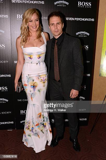 Actress Abbie Cornish and actor Sam Rockwell attend The Cinema Society with Hugo Boss and Appleton Estate screening of 'Seven Psychopaths' at...