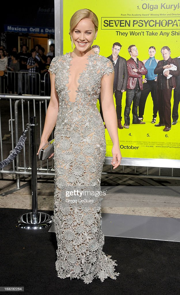 Actress Abbie Cornish arrives at the Los Angeles premiere of 'Seven Psychopaths' at Mann Bruin Theatre on October 1, 2012 in Westwood, California.