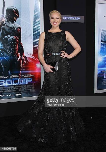 Actress Abbie Cornish attends the Los Angeles premiere of 'Robocop' on February 10 2014 in Hollywood California