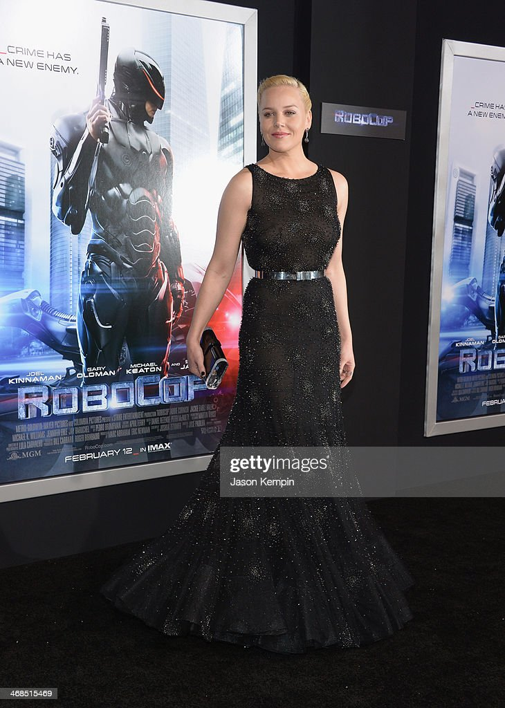 Actress <a gi-track='captionPersonalityLinkClicked' href=/galleries/search?phrase=Abbie+Cornish&family=editorial&specificpeople=213603 ng-click='$event.stopPropagation()'>Abbie Cornish</a> attends the premiere of Columbia Pictures' 'Robocop' on February 10, 2014 in Hollywood, California.