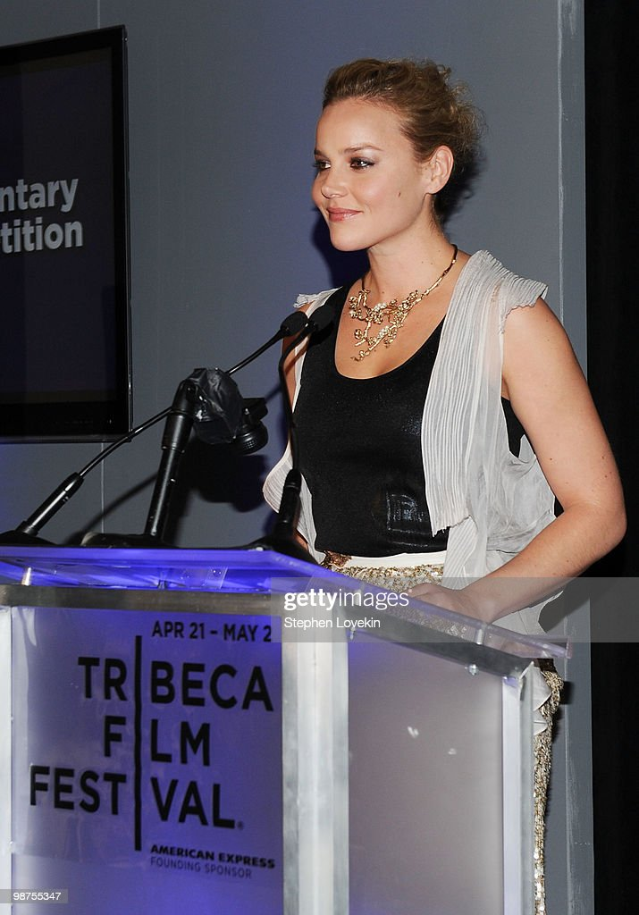 Actress <a gi-track='captionPersonalityLinkClicked' href=/galleries/search?phrase=Abbie+Cornish&family=editorial&specificpeople=213603 ng-click='$event.stopPropagation()'>Abbie Cornish</a> speaks at the Awards Night Show & Party during the 2010 Tribeca Film Festival at the W New York - Union Square on April 29, 2010 in New York City.