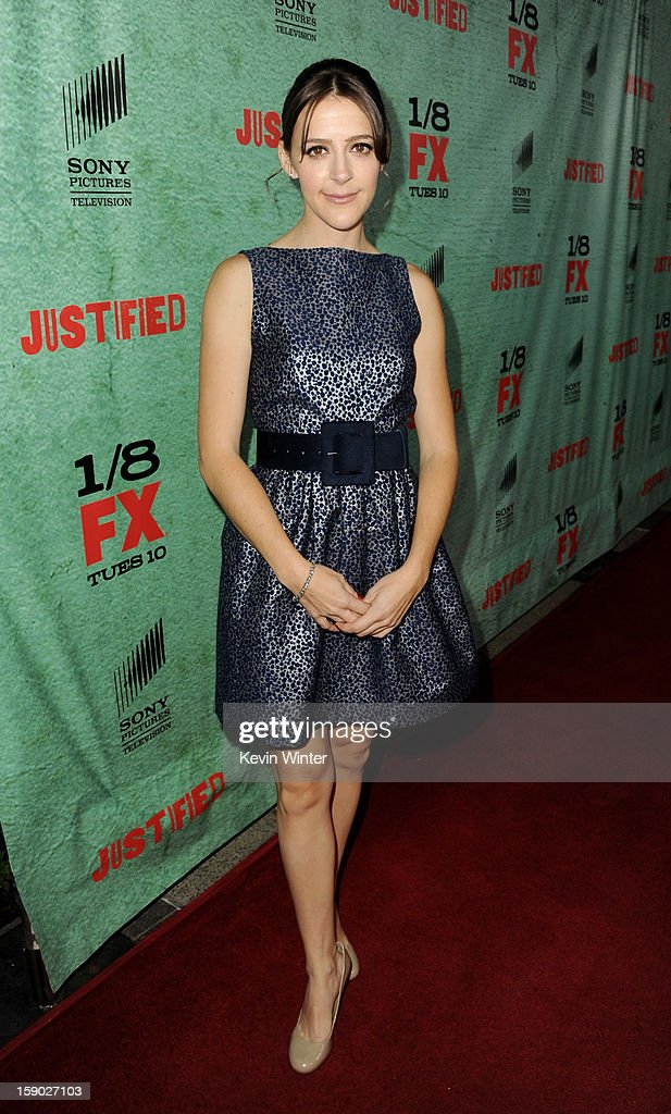 Actress Abby Miller arrives at the premiere of FX's 'Justified' Season 4 at Paramount Studios on January 5, 2013 in Los Angeles, California.
