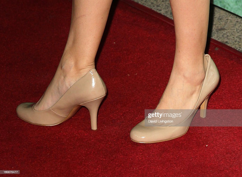 Actress Abby Miller (shoe detail) attends the premiere of FX's 'Justified' Season 4 at the Paramount Theater on the Paramount Studios lot on January 5, 2013 in Hollywood, California.