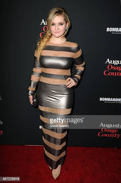 Actress Abigail Breslin arrives at the premiere of The Weinstein Company's 'August Osage County' at Regal Cinemas LA Live on December 16 2013 in Los...