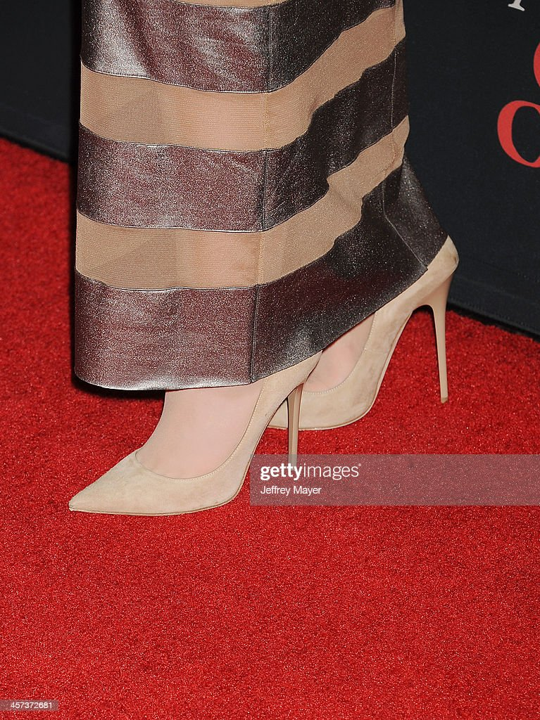 Actress <a gi-track='captionPersonalityLinkClicked' href=/galleries/search?phrase=Abigail+Breslin&family=editorial&specificpeople=226628 ng-click='$event.stopPropagation()'>Abigail Breslin</a> (shoe detail) at the 'August: Osage County' - Los Angeles Premiere at Regal Cinemas L.A. Live on December 16, 2013 in Los Angeles, California.