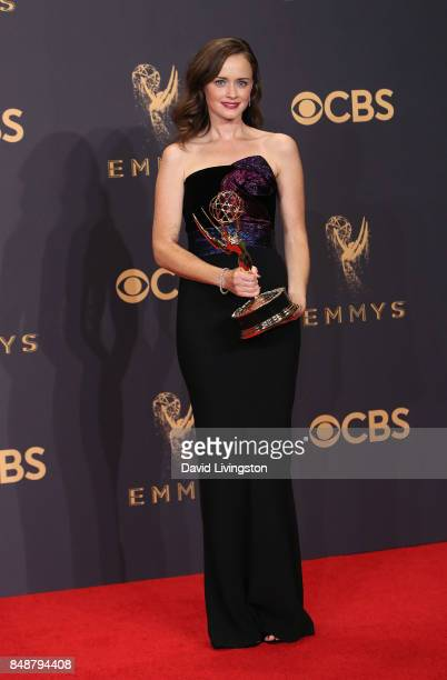 Actress Actor Alexis Bledel of 'The Handmaid's Tale' winner of the award for Outstanding Drama Series poses in the press room during the 69th Annual...