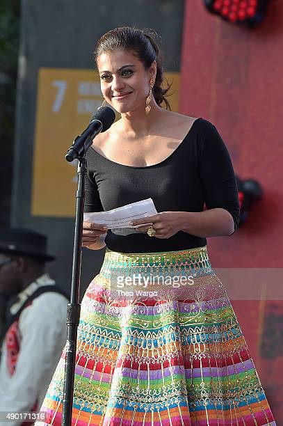 Actress actress Kajol Devgan speaks on stage at the 2015 Global Citizen Festival to end extreme poverty by 2030 in Central Park on September 26 2015...