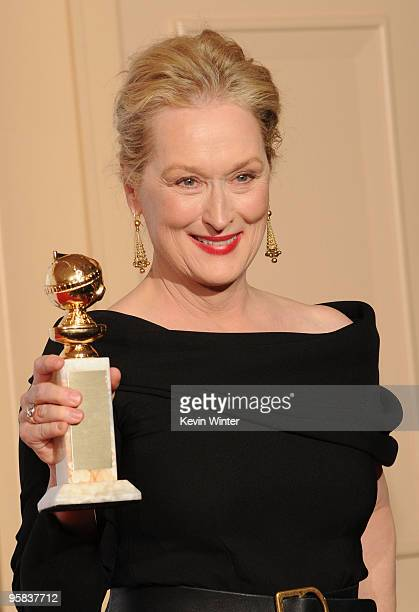 Actress Actress Meryl Streep poses with her Best Performance by an Actress in a Motion Picture Musical or Comedy award in the press room at the 67th...