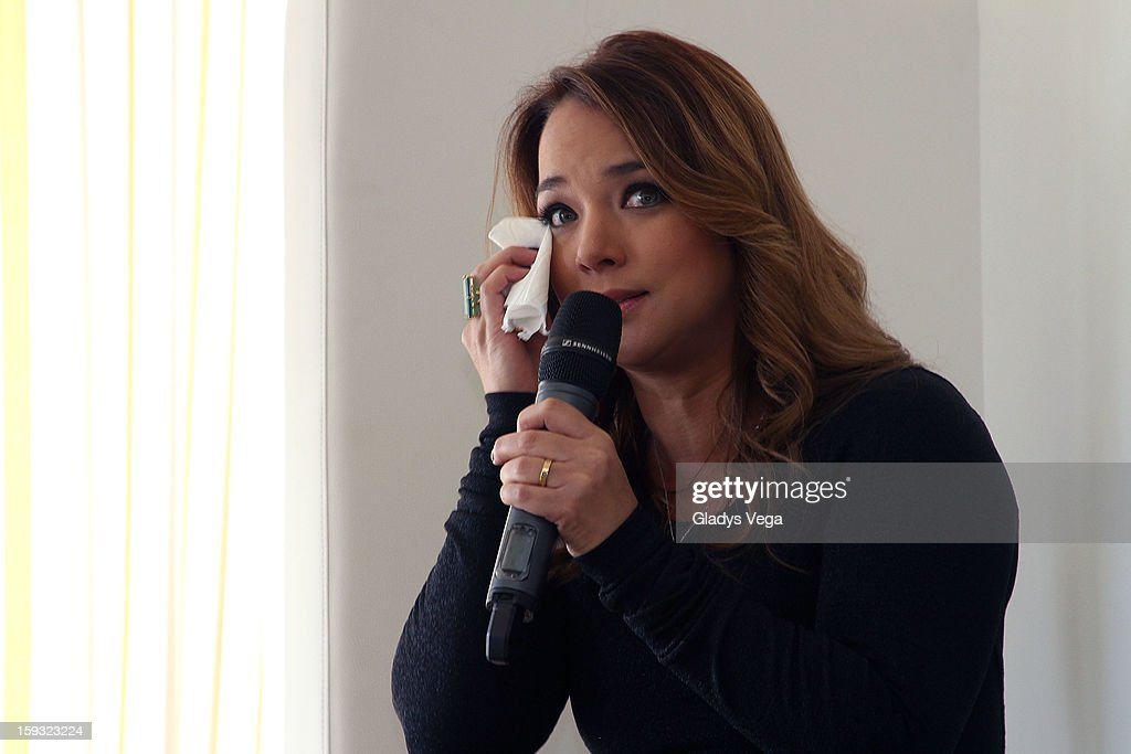 Actress <a gi-track='captionPersonalityLinkClicked' href=/galleries/search?phrase=Adamari+Lopez&family=editorial&specificpeople=2550892 ng-click='$event.stopPropagation()'>Adamari Lopez</a> talks to media as a presentation of her book 'Viviendo' in Press Conference on January 11, 2013 in San Juan, Puerto Rico.