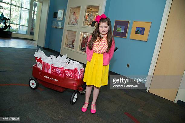 Actress Addison Riecke visits and brings gifts to patients at the Pediatric Rehabilitative Medicine Unit at Children's Hospital Los Angeles on...