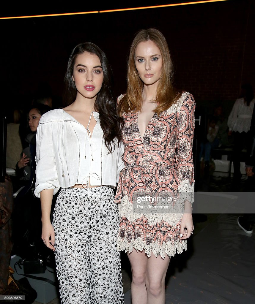 Actress <a gi-track='captionPersonalityLinkClicked' href=/galleries/search?phrase=Adelaide+Kane&family=editorial&specificpeople=1052995 ng-click='$event.stopPropagation()'>Adelaide Kane</a> and model <a gi-track='captionPersonalityLinkClicked' href=/galleries/search?phrase=Alyssa+Campanella&family=editorial&specificpeople=7480512 ng-click='$event.stopPropagation()'>Alyssa Campanella</a> attend the Zimmermann Fall 2016 Runway Show at Art Beam on February 12, 2016 in New York City.