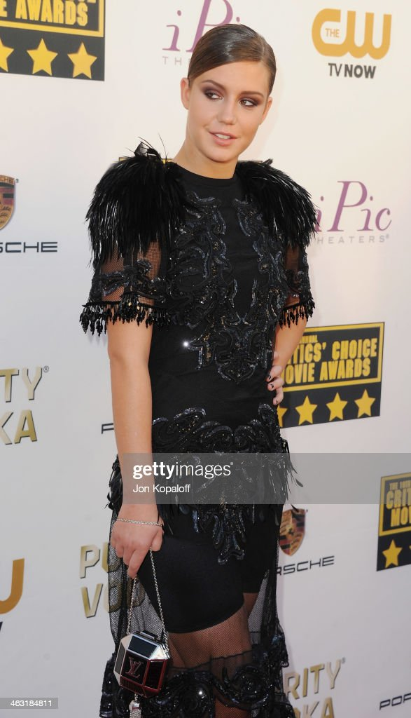 Actress Adele Exarchopoulos arrives at the 19th Annual Critics' Choice Movie Awards at Barker Hangar on January 16, 2014 in Santa Monica, California.