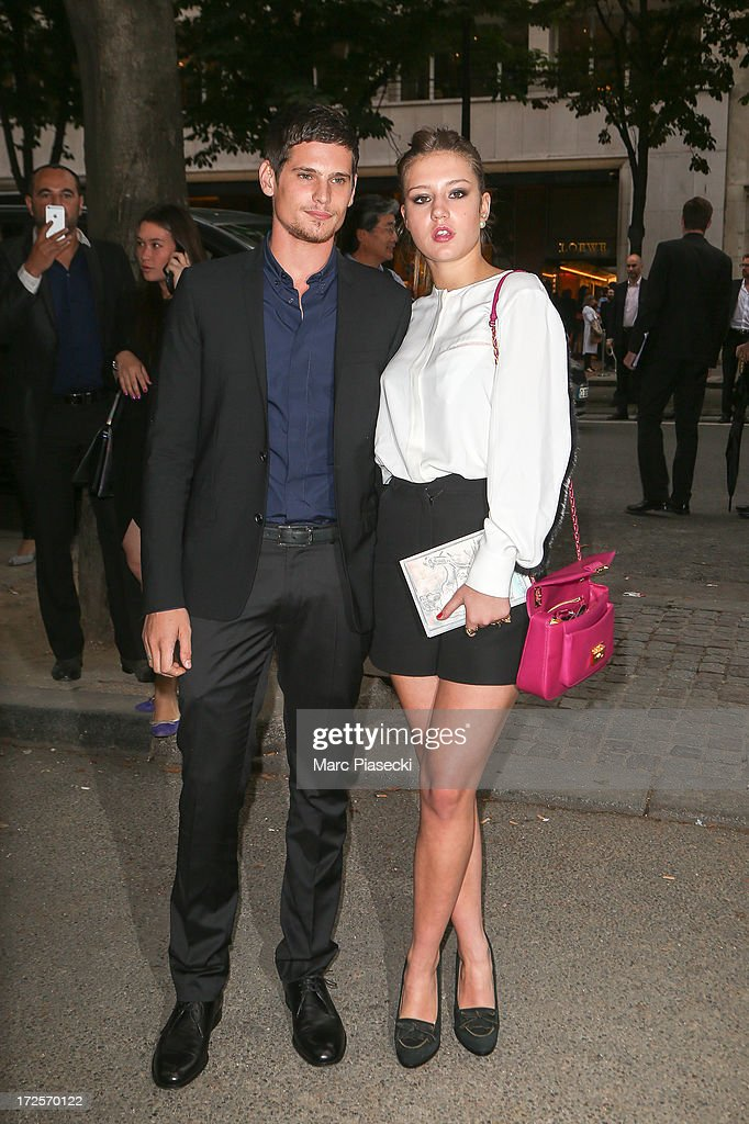 Actress Adele Exarchopoulos (R) arrives to attend the 'The Glory of Water' Karl Lagerfeld's exhibition at FENDI store on Avenue Montaigne on July 3, 2013 in Paris, France.