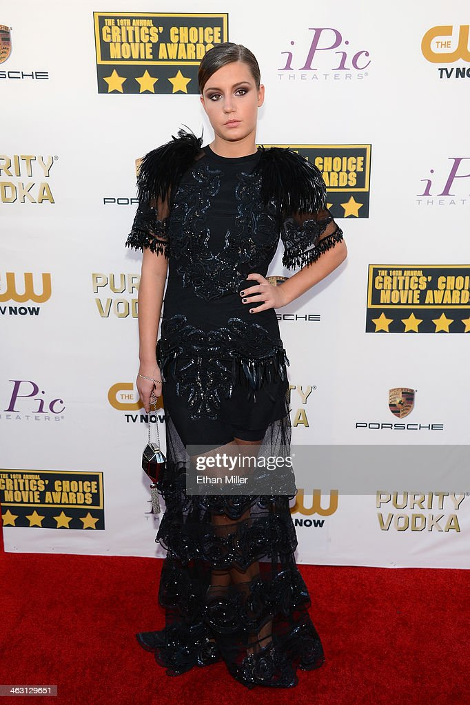 Actress Adele Exarchopoulos attends the 19th Annual Critics' Choice Movie Awards at Barker Hangar on January 16, 2014 in Santa Monica, California.