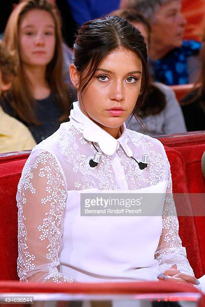 Actress Adele Exarchopoulos presents the Movie 'Les Anarchistes' during the 'Vivement Dimanche' French TV Show at Pavillon Gabriel on October 28 2015...