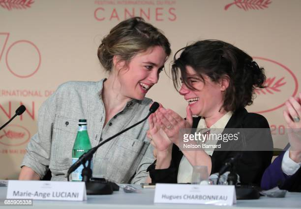 Actress Adele Haenel and producer MarieAnge Luciani attend the '120 Beats Per Minute ' Press Conference during the 70th annual Cannes Film Festival...