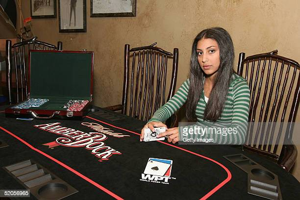 Actress Adi Schnall visits the Michelob Amber Bock World Poker Tour display at the Gibson Gift Lounge during the 2005 Sundance Film Festival on...