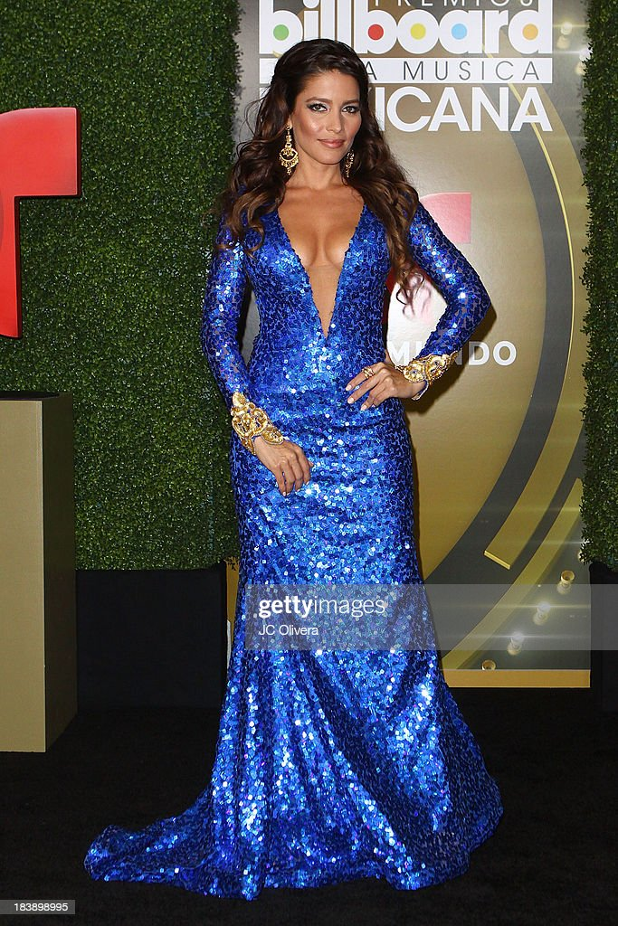 Actress Adriana Fonseca poses for a photograph at The 2013 Billboard Mexican Music Awards - Press Room at Dolby Theatre on October 9, 2013 in Hollywood, California.