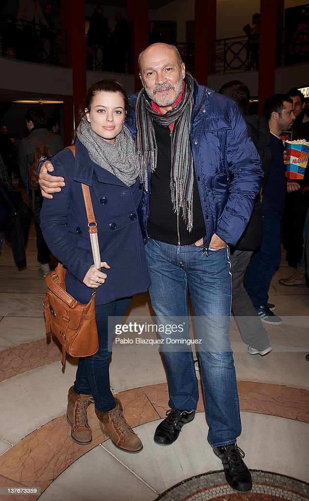 Actress Adriana Torrebejano (L) and actor Juan Fernandez (R) attend La Oreja de Van Gogh concert at Arteria Coliseum Theatre on January 24, 2012 in Madrid, Spain.