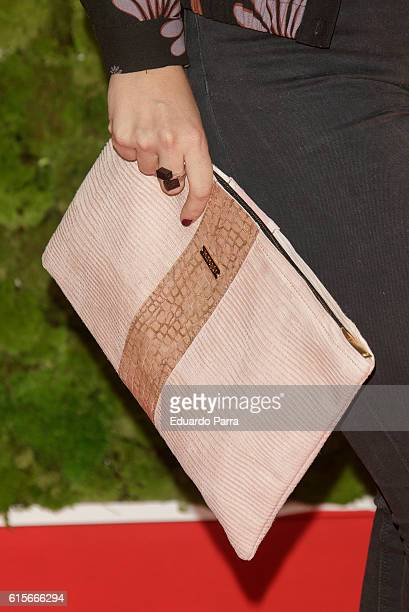 Actress Adriana Torrebejano bag detail attends the 'Mercado de Sabores' 3rd edition photocall at Madrid Cityhall on October 19 2016 in Madrid Spain
