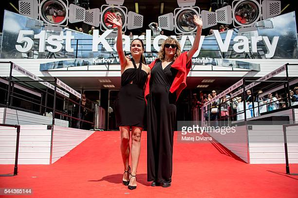 Actress Adriana Ugarte and Emma Suarez arrive for the presentation of the film 'Julieta' during the 51st Karlovy Vary International Film Festival on...