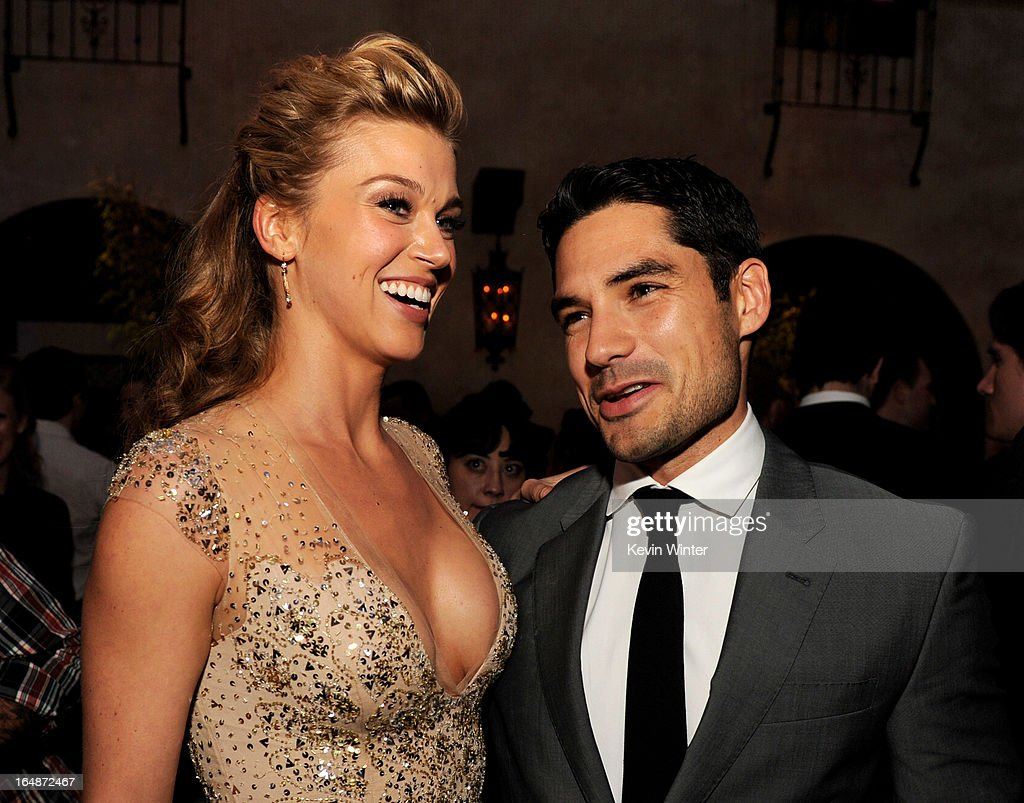 Actress Adrianne Palicki (L) and actor D.J. Cotrona pose at the after party for the premiere of Paramount Pictures' 'G.I. Joe: Retaliation' at the Roosevelt Hotel on March 28, 2013 in Los Angeles, California.