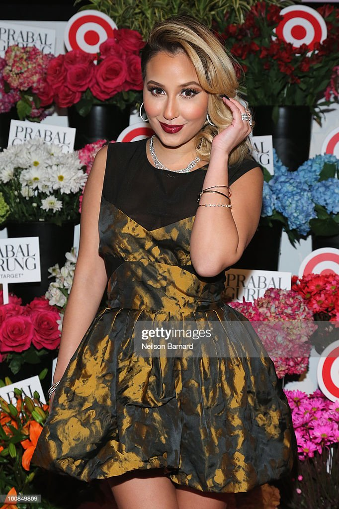 Actress <a gi-track='captionPersonalityLinkClicked' href=/galleries/search?phrase=Adrienne+Bailon&family=editorial&specificpeople=540286 ng-click='$event.stopPropagation()'>Adrienne Bailon</a> attends Prabal Gurung for Target launch event on February 6, 2013 in New York City.