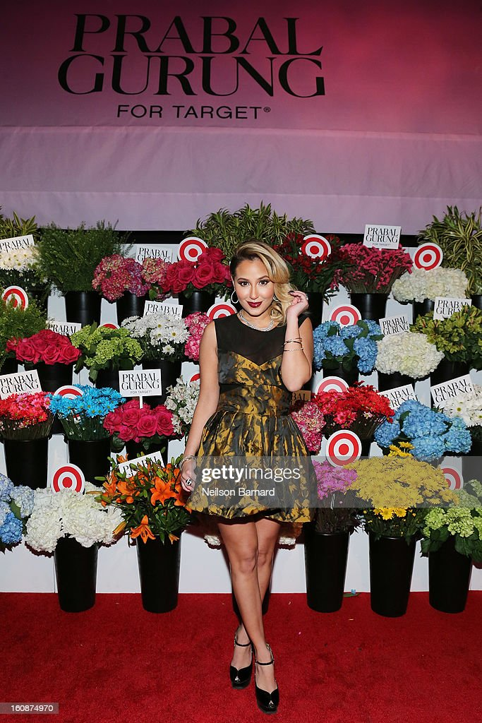 Actress <a gi-track='captionPersonalityLinkClicked' href=/galleries/search?phrase=Adrienne+Bailon&family=editorial&specificpeople=540286 ng-click='$event.stopPropagation()'>Adrienne Bailon</a> attends the Prabal Gurung for Target launch event on February 6, 2013 in New York City.