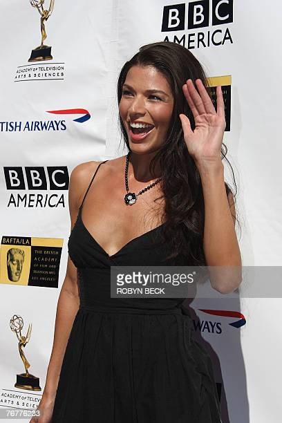 US actress Adrienne Janic arrives for a preEmmy Awards tea party hosted by the British Academy of Film Television Arts/Los Angeles and the Academy of...