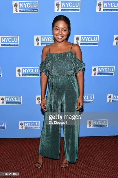 Actress Adrienne Warren attends the annual Broadway Stands Up For Freedom' concert hosted by the NYCLU at Jack H Skirball Center for the Performing...