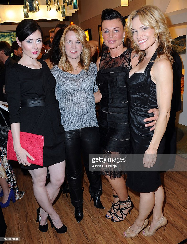 Actress Adrienne Wilkinson, actress Renee O'Connor, makeup artist Natalie Vincetich and actress <a gi-track='captionPersonalityLinkClicked' href=/galleries/search?phrase=Victoria+Pratt&family=editorial&specificpeople=216541 ng-click='$event.stopPropagation()'>Victoria Pratt</a> attend TJ Scott's 'In The Tub' Book Party Launch to benefit UCLA's Jonsson Cancer Center for Breast Research hosted by Katrina Law of 'Spartacus' held at Light In Art on December 12, 2013 in Los Angeles, California.