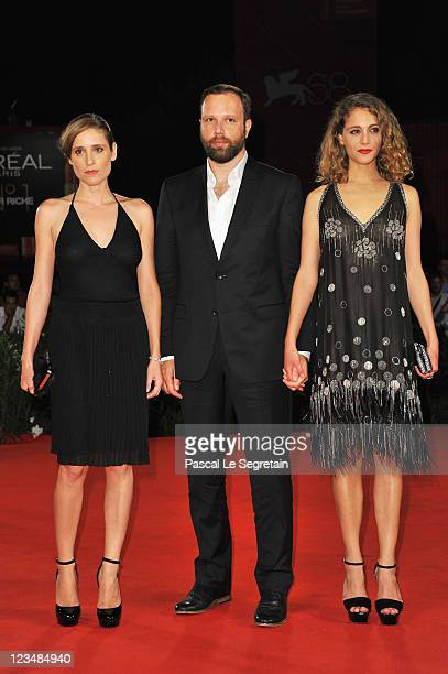 Actress Aggeliki Papoulia director Yorgos Lanthimos and actress Ariane Labed attends the 'Alpis' premiere during the 68th Venice Film Festival at...