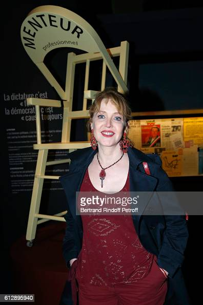 Actress Agnes Soral attends the Coluche Exhibition Opening This exhibition is organized for the 30 years of the disappearance of Coluche Held at...