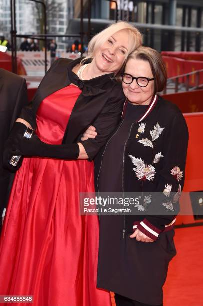 Actress Agnieszka Mandat and film director Agnieszka Holland attend the 'Spoor' premiere during the 67th Berlinale International Film Festival Berlin...