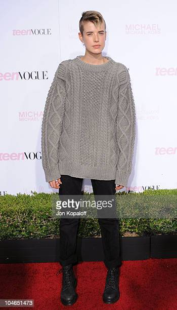 Actress Agyness Deyn arrives at Teen Vogue's 8th Annual Young Hollywood Party at Paramount Studios on October 1 2010 in Hollywood California