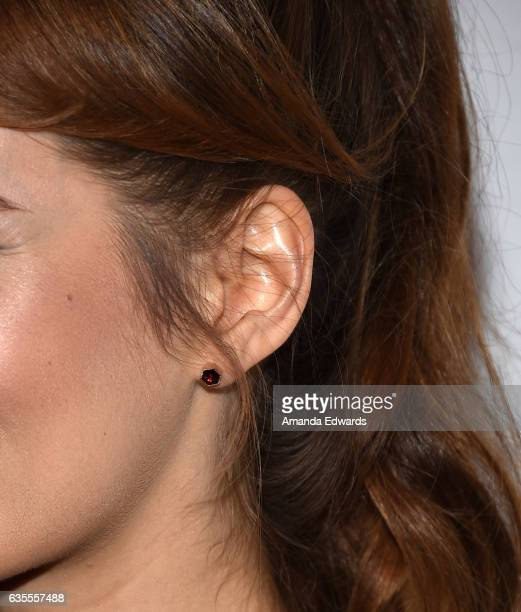 Actress Ahna O'Reilly earring detail arrives at the premiere of Momentum Pictures' 'In Dubious Battle' at ArcLight Hollywood on February 15 2017 in...
