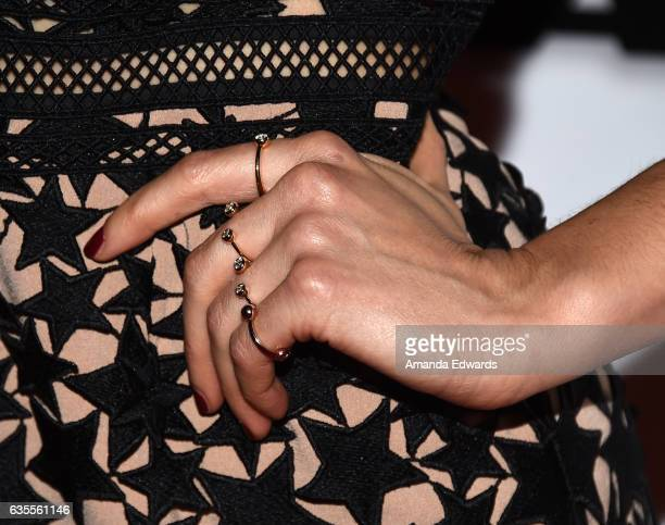 Actress Ahna O'Reilly ring detail arrives at the premiere of Momentum Pictures' 'In Dubious Battle' at ArcLight Hollywood on February 15 2017 in...