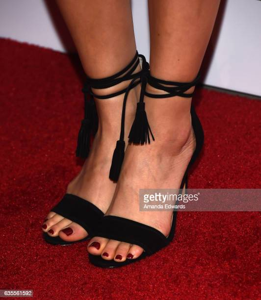 Actress Ahna O'Reilly shoe detail arrives at the premiere of Momentum Pictures' 'In Dubious Battle' at ArcLight Hollywood on February 15 2017 in...