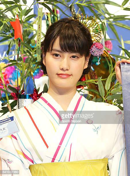 Actress Ai Hashimoto attends the ACUVUE PR event on July 3 2013 in Tokyo Japan