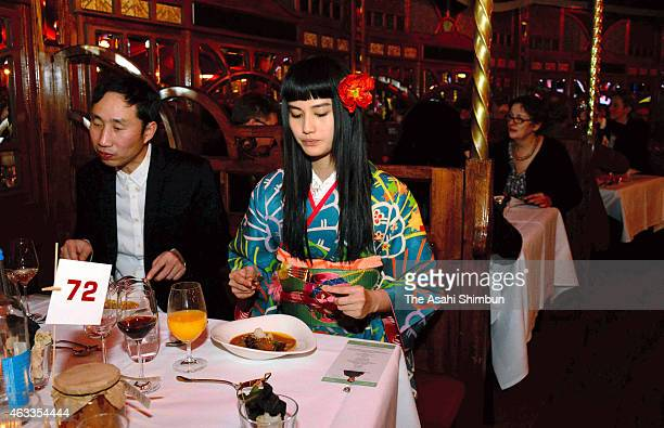 Actress Ai Hashimoto is seen during the Culinary Cinema dinner during the 65th Berlinale International Film Festival on February 10 2015 in Berlin...