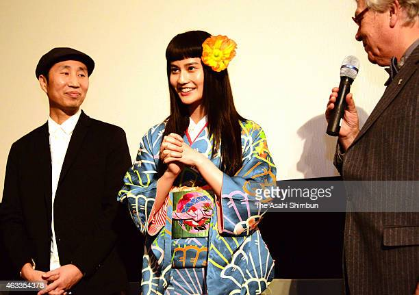 Actress Ai Hashimoto speaks during a stage greeting at the 'Little Forest' Culinary Cinema during the 65th Berlinale International Film Festival on...